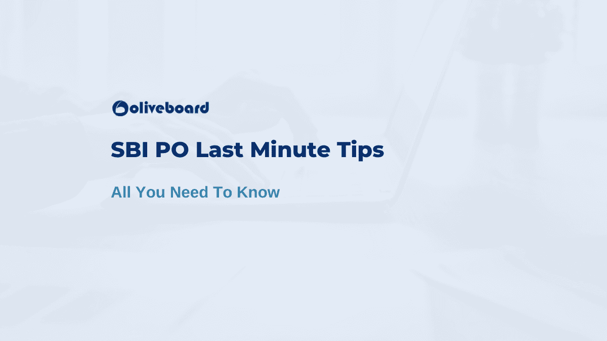 SBI PO Last Minute Tips