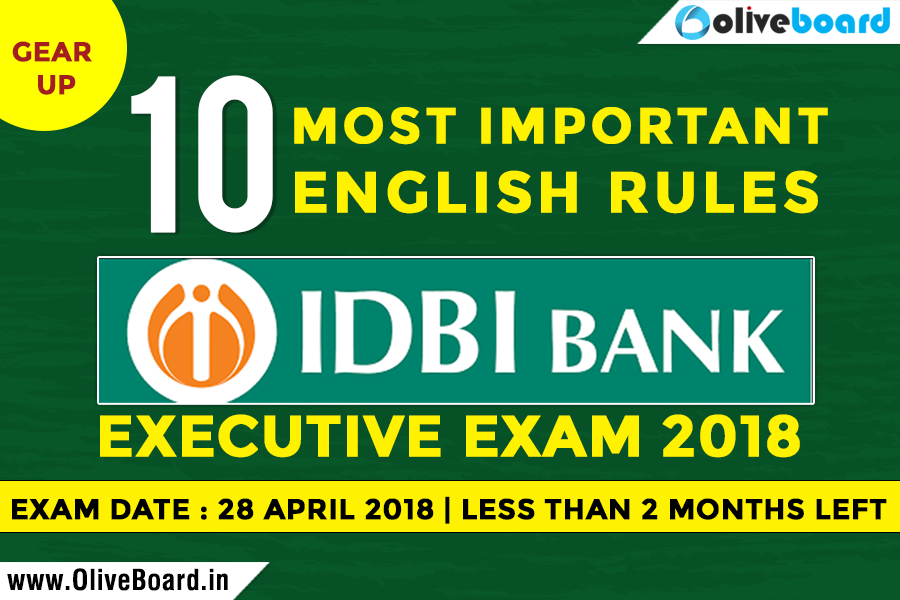 Prepare English for IDBI Bank Executive 2018 Exam
