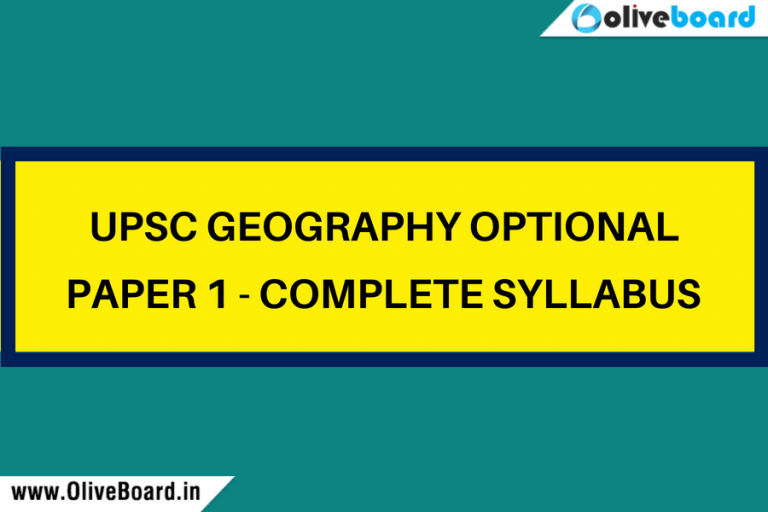 UPSC Geography Optional Paper 1