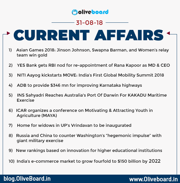 Current Affairs 31 August 2018