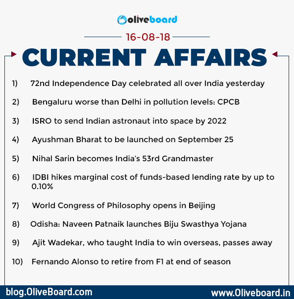 DAILY GK CURRENT AFFAIRS – 16th August
