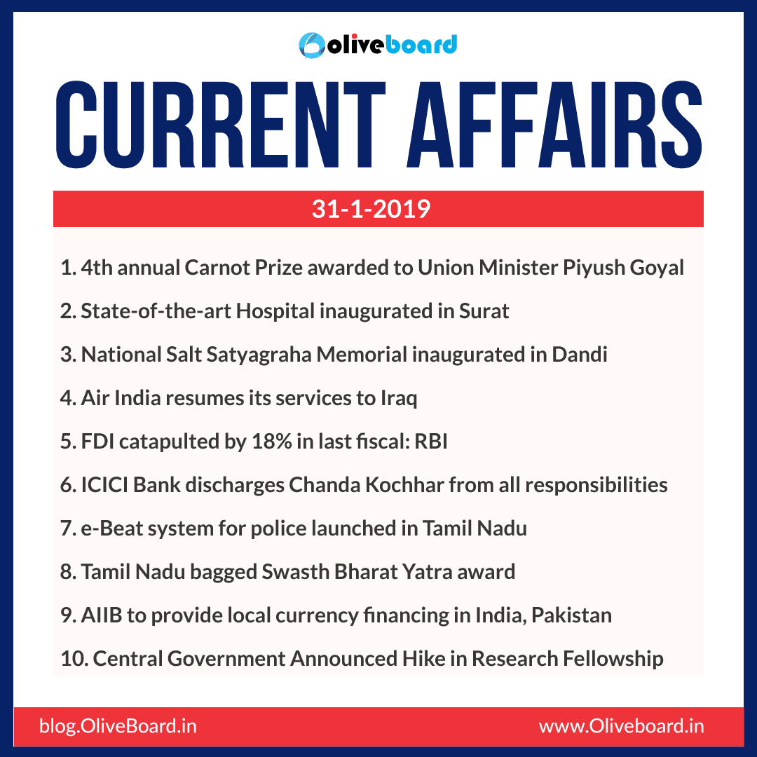 Current Affairs: 31 January 2019