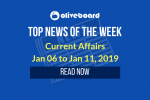 Weekly Current Affairs - Jan 06 to Jan 11, 2019