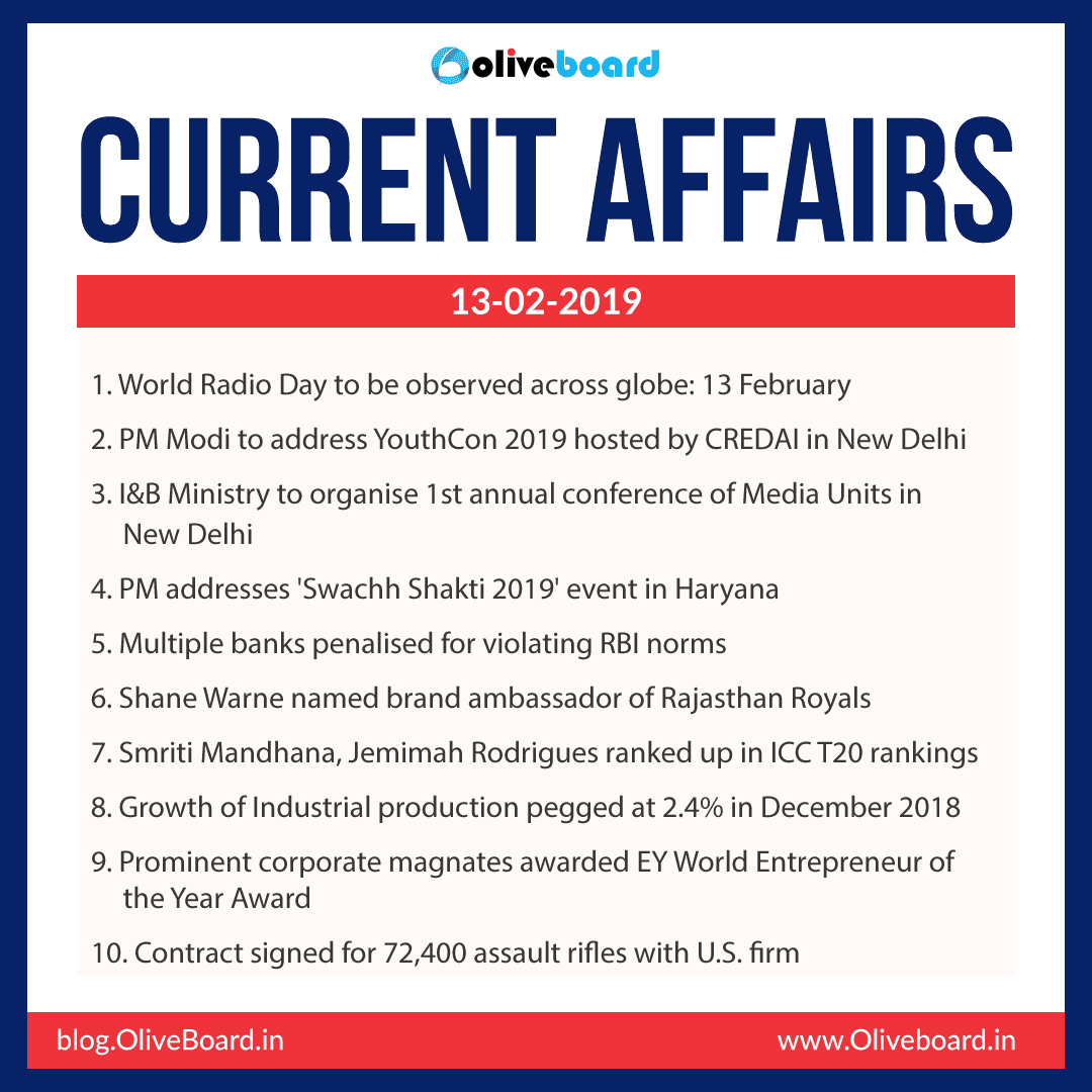 Current Affairs: 13 February 2019