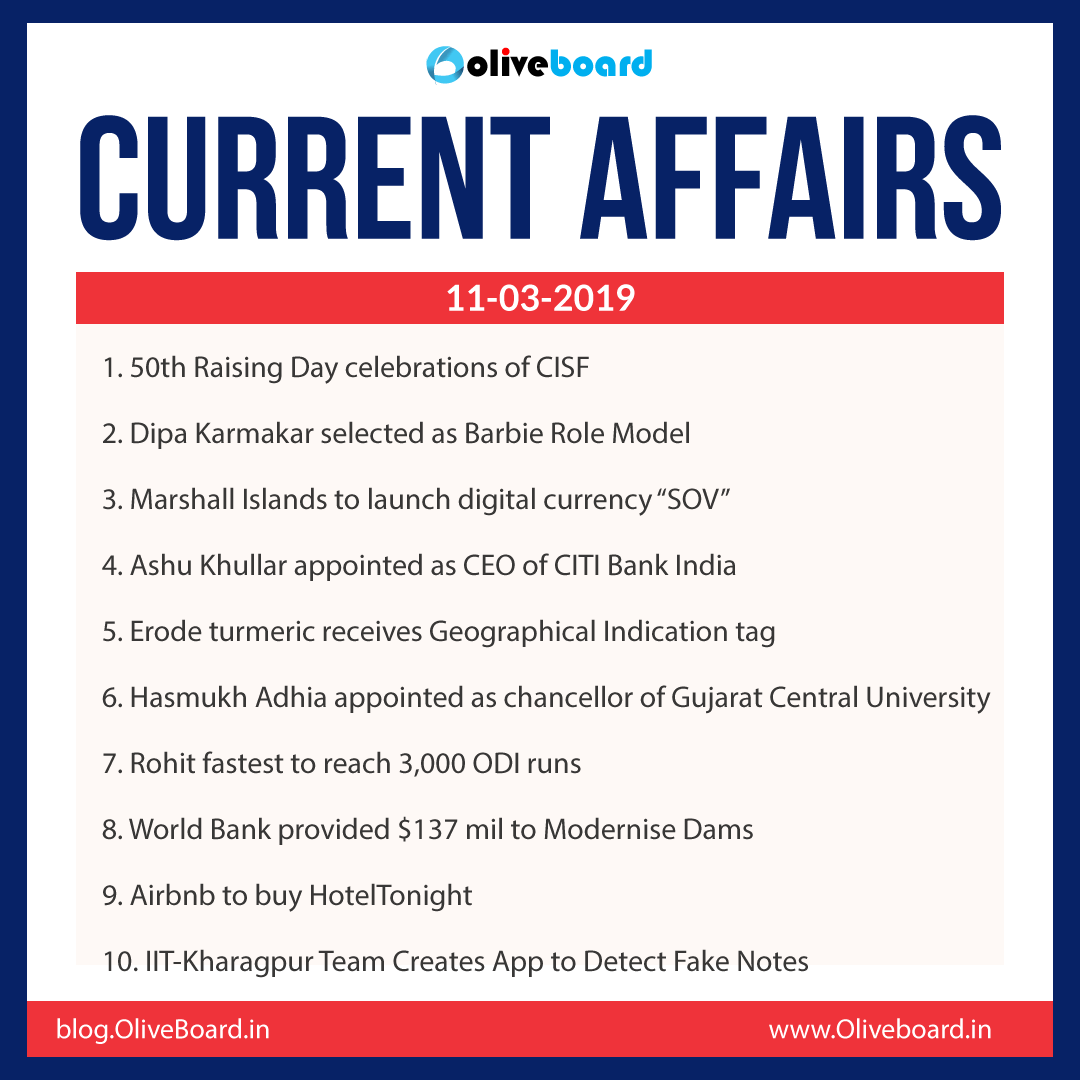 Current Affairs: 11 March 2019