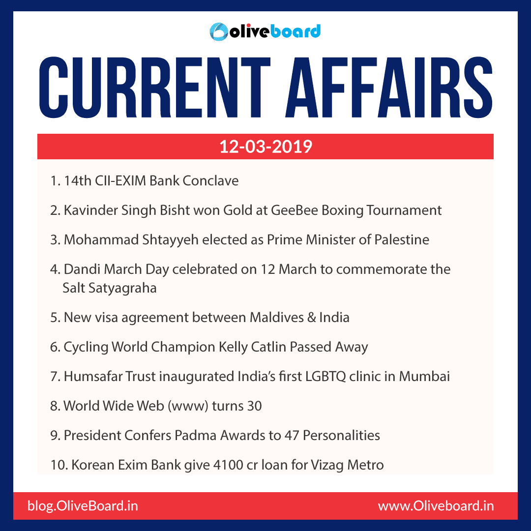 Current Affairs: 12 March 2019
