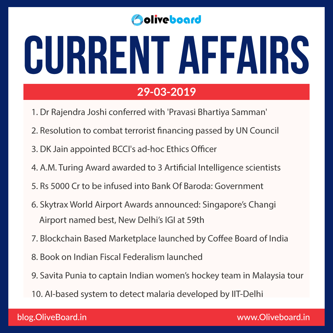 Current Affairs: 29 March 2019