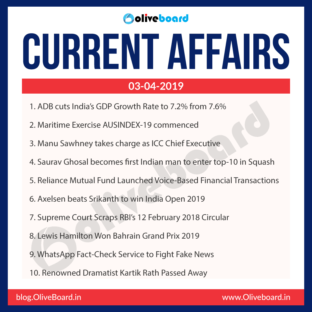Current Affairs: 03 April 2019