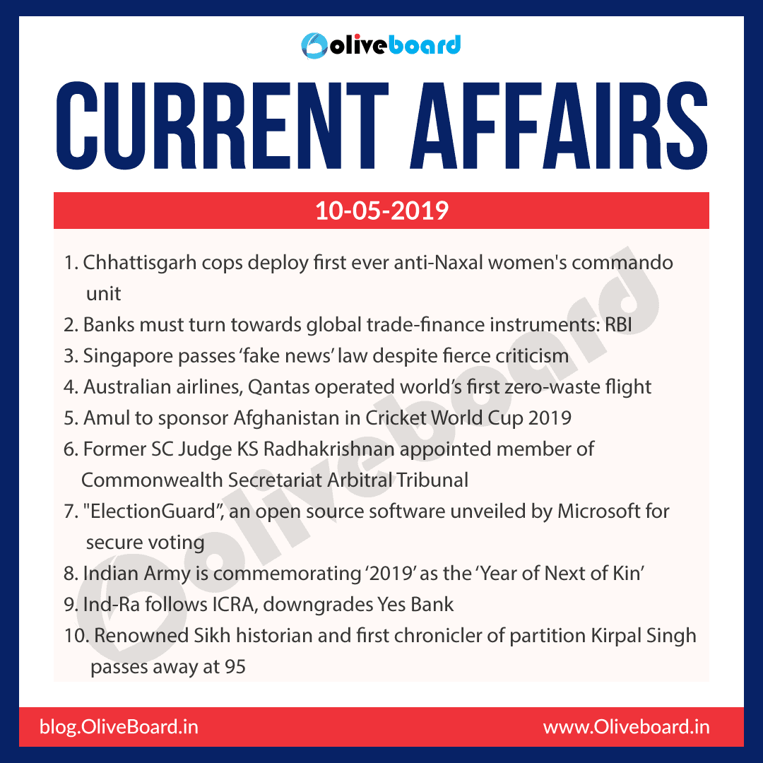 Current Affairs 10 May 2019