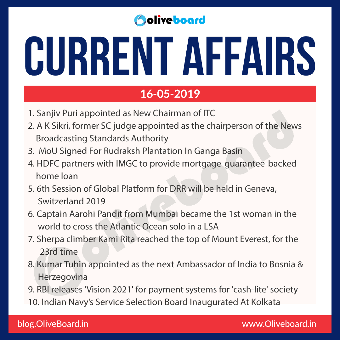 Current Affairs 16 May 2019