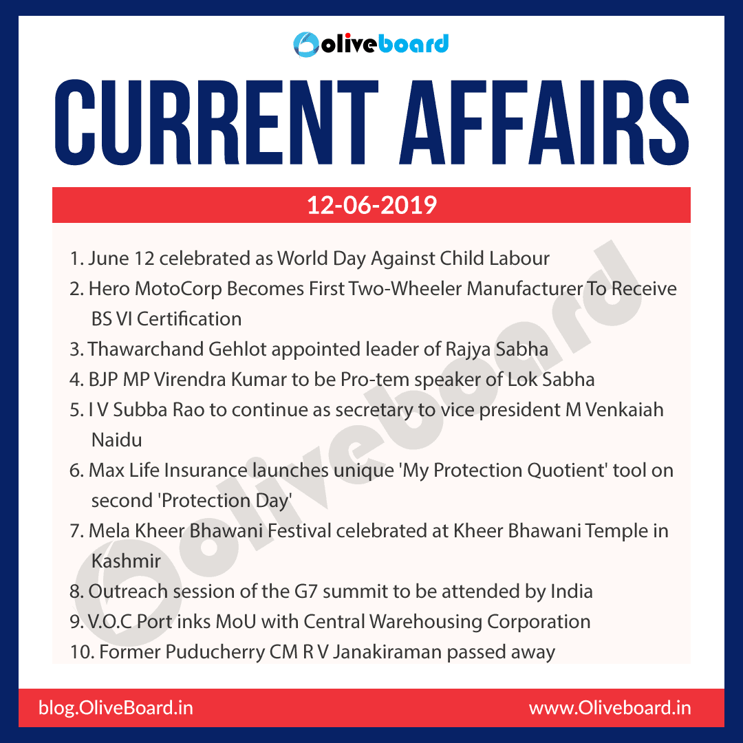 Current Affairs 12 June 2019