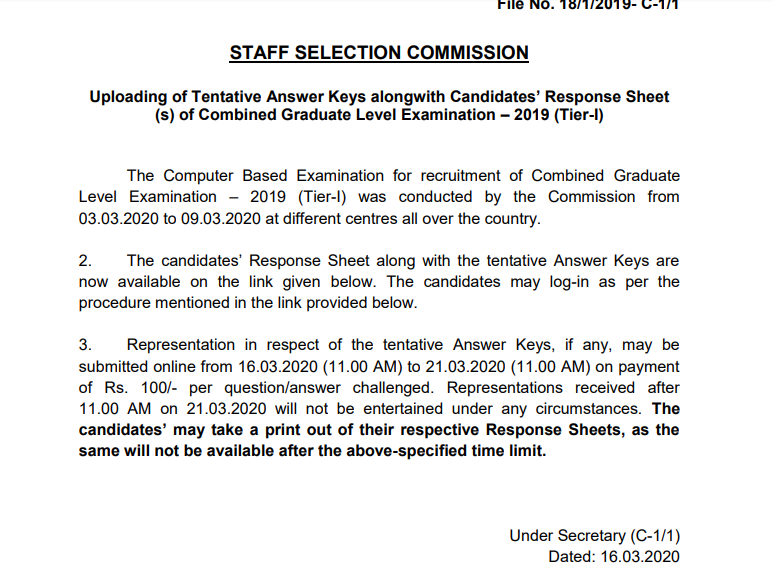 ssc cgl answer key