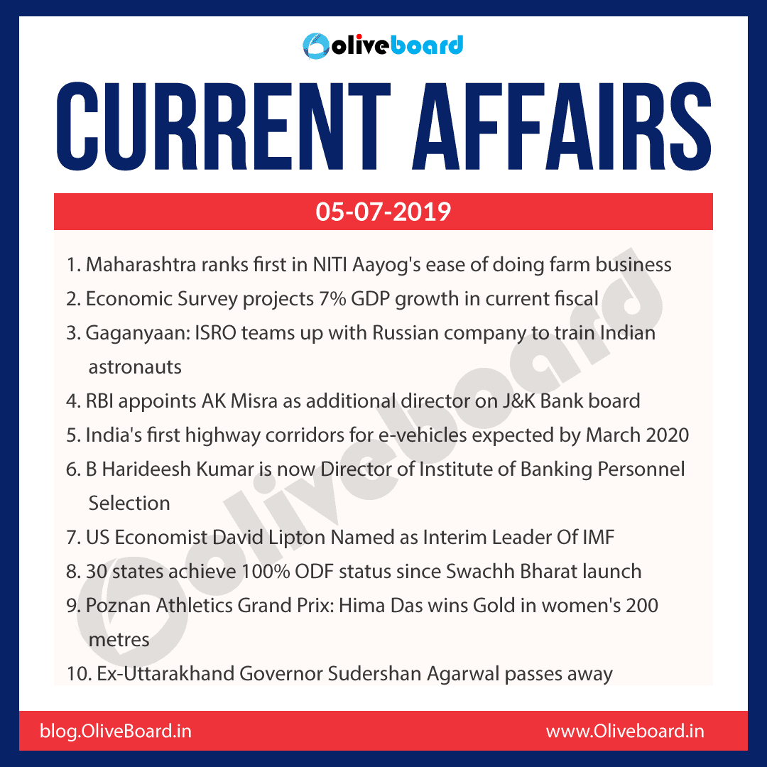 Current Affairs 05 July 2019
