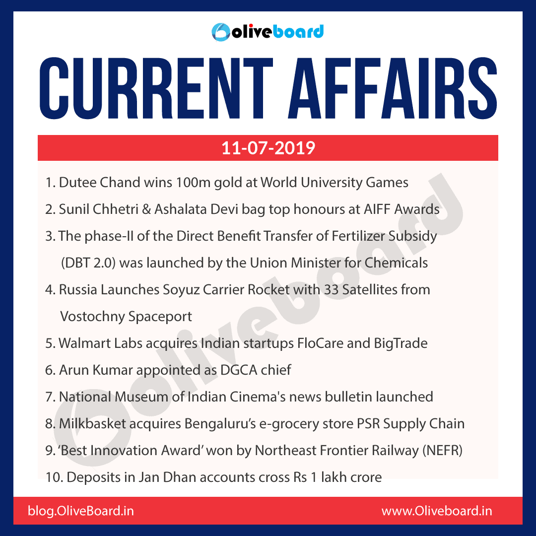 Current Affairs 11 July 2019