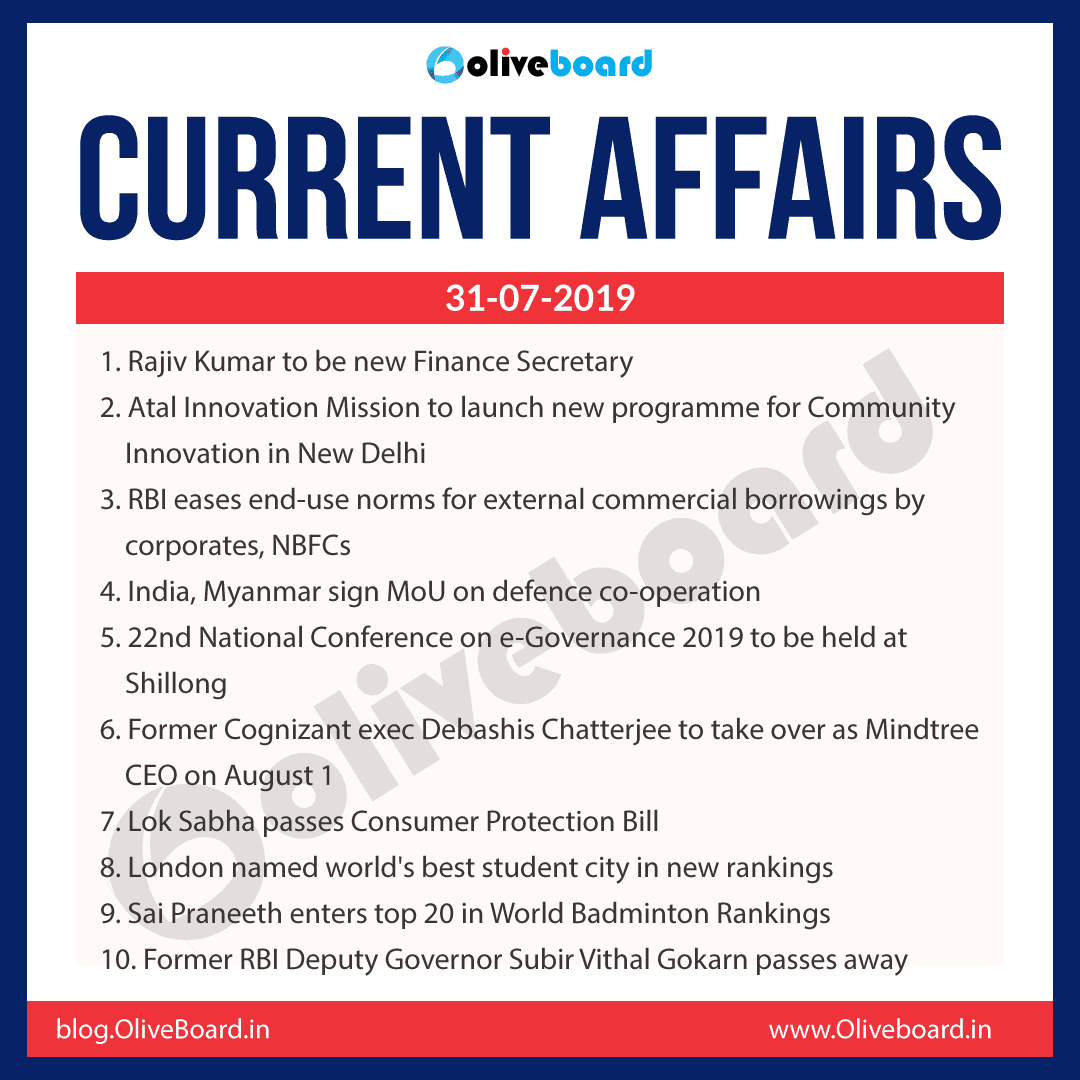 Current Affairs 31 July 2019