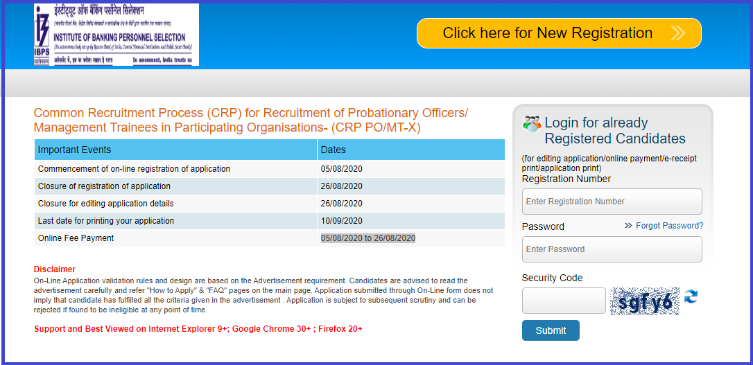 IBPS PO Apply Online