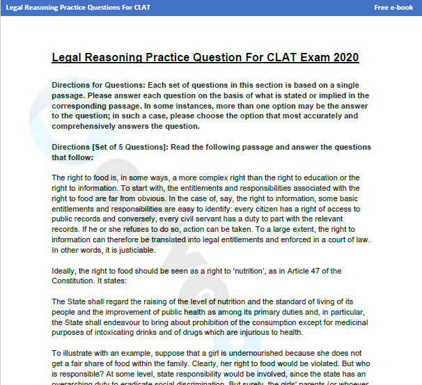 New Pattern Legal Reasoning Questions For Clat Download Now