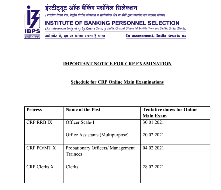 IBPS RRB Exam Date