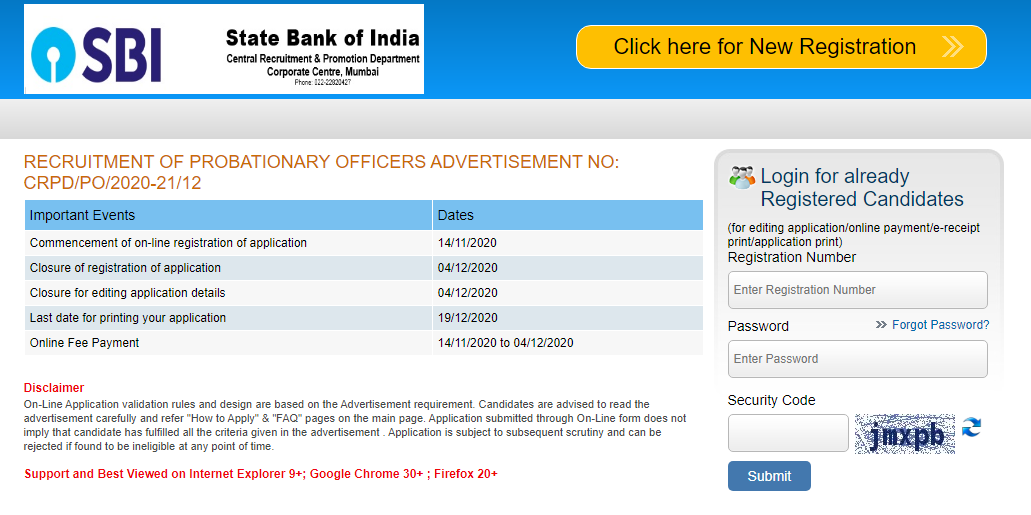how to apply sbi po online application form 2019